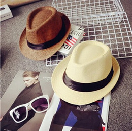 Wholesale Kids Church Hats - 15 Styles Vogue Men Women Hat Kids Children Straw Hats Cap Soft Fedora Panama Belt Hats Outdoor Stingy Brim Caps Spring Summer Beach