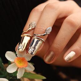 Wholesale cute simple rings - Simple European Fashion Cute Retro Five Star Beaded Rhinestone Plum Snake Gold Silver Ring Finger Nail Rings Bridal Jewelry Cheap