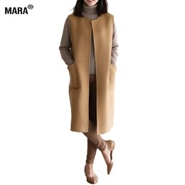 Wholesale Korean Women Xs Wool Coat - 2016 Fashion elegant women long coat winter slim wool coat cashmere overcoat khaki black ladies coats Korean