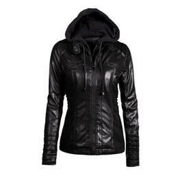 Wholesale rivet motorcycle clothing - Nitree Plus Size Womens Clothing 2018 Winter Faux Leather Hooded Jacket Zippered Hoodie Parkas Slim Motorcycle Jacket Coat Cheap