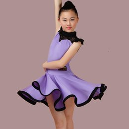 Wholesale Red Rosette Dress - New children Kids Girls Latin dance dress Short Sleeve Lace chacha tango ballroom costumes Practice Dance Dress Competition clothing 4Color