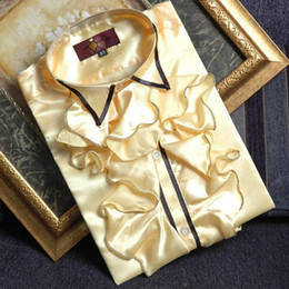Bowtie giallo mens online-Camicie per camicie da party / eventi con maniche e camicie da uomo
