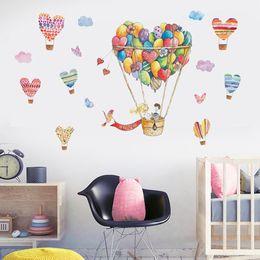 décor de salle de montgolfière Promotion Ballon À Air Chaud Mignon Et Coeur Sticker Art Stickers Muraux Vinyle Home Room Decor