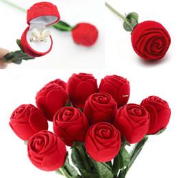 boîte à fleurs rose rouge Promotion Romantique Rouge Rose Fleur Anneau Boîtes Boucles D'oreilles Bijoux Boîte Cadeau pour Fiançailles De Mariage Décoration Saint-Valentin Décor Fournitures