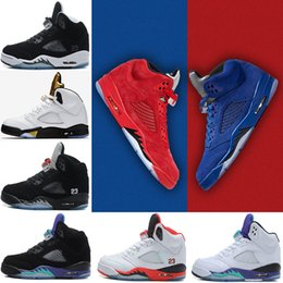 Wholesale Grape Boxes - (with box) 5 men Basketball Shoes blue Red Suede white Cement Olympic OG Black metallic Gold Bordeaux Fire Red Grape sports shoes sneakers