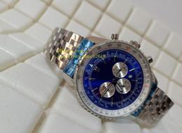 relógio navitimer Desconto Hot vender relógios de luxo A35340 navitimer Azul Dial Quartz Chronograph Aço Inoxidável Mens Watch Watche
