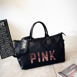 Wholesale Wholesale Tote Bag Luggage - Sequins PINK Letter Duffle Bag Girl Design Travel Large Capacity Luggage Handbag Yoga Fitness Shoulder Bag Waterproof Outdoor Beach Tote new