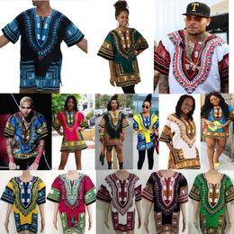 Wholesale Traditional Design Dresses - 2018 New 22 Colors Traditional Men African fashion design print Dashiki hip hop t shirt dress african women dress