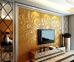 2019 gekrümmte tvs Moderne abstrakte Tapete 3D Luxury Wandbild Beflockungskurve Striped Non Woven TV Sofa Hintergrund Wandpapier günstig gekrümmte tvs