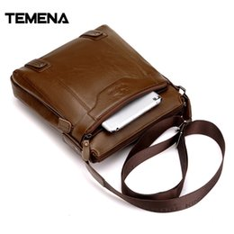 Wholesale Vintage Leather Satchels For Men - Temena 2017 Genuine Leather Bags Men High Quality Messenger Bags Small Travel Business Crossbody Shoulder Bag For Men AMB479