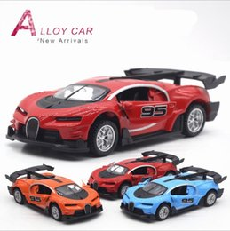 Wholesale Concepts Sport - wholesale 1:36 scale alloy pull back car model Bugatti concept sports car diecast metal toy vehicles musical&flashing 2open doors