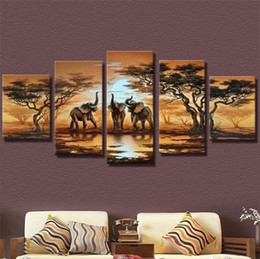 Wholesale Pictures Elephants - 2017 diy 5pcs set mosaic full diamond embroidery elephant animals 3d diamond painting cross stitch square drill multi-pictures