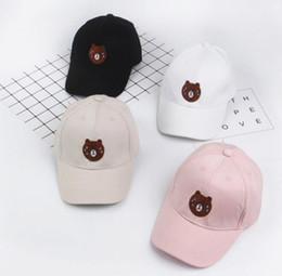 Wholesale cute black bears - Spring and summer children's baseball cap baby bear pattern bending cap cute boys and girls shade leisure cap