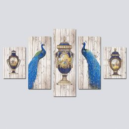 Wholesale peacock oil painting framed - 5PCS Wood Framed Modern European Style Peacock Bottle Lnkjet Printing Oil Canvas Painting Home Wall Decoration