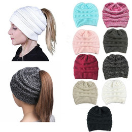 Wholesale Green Ponytail - Fashion Warm Woolen Stylish Knitted Ponytail Beanies Hat For Women Stretch Soft Crochet Slouchy Skullies Caps