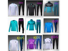 Wholesale Kids Boys Suits - BEST THAI QUALITY 15-2016-17-18 Real Madrid KIDS BOYS soccer chandal football tracksuit Children's KIDS training suit skinny pants Sportsw