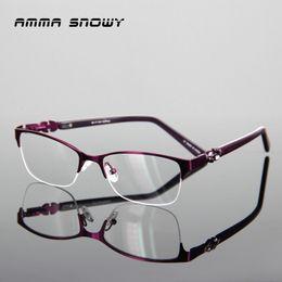 3c065743aa3 AMMA SNOWY Olive Leaf Diamonds Eyeglasses Frames Women Luxury Purple Eyeglasses  Frame Stainless Steel Acetate AS059-1