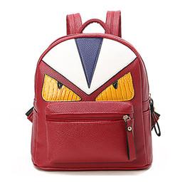 Wholesale wholesale fashion korean school bag - 2018 NEW Korean New Designer Unique Little Monster Backpack Women Cute Bird Face Backpack School Bags For Women free shipping