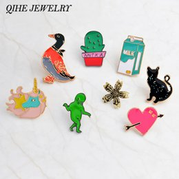 Wholesale duck collection - QIHE JEWELRY Pins and brooches Duck,cactus,milk,alien,cat,flower,heart hard enamel pins Badges Backpack bag collection