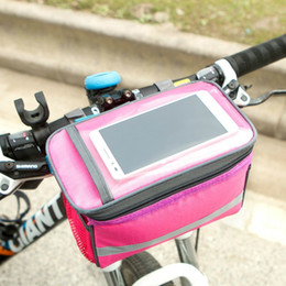 Емкостной сенсорный экран онлайн-Квадратный велосипед руль сумка с прозрачным сенсорным экраном окна мобильного телефона мешок большой емкости водонепроницаемый велосипед сумки популярные 15xc B