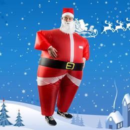 HOT Papai Noel Boneco De Neve Inflável Terno Traje Da Festa de Natal Roupas Xmas Barba Chapéu cheap christmas snowman costume de Fornecedores de traje de boneco de neve de natal