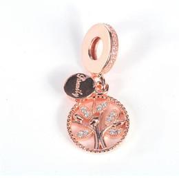 Rose Gold Dangle Bead 925 Sterling Silver Family Tree Pendentif Charme Fit Original Pandora Bracelet BRICOLAGE Fabrication de Bijoux ? partir de fabricateur