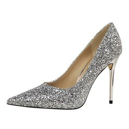Wholesale Silver Glitter Chunky High Heels - Women's dress wedding silver pointed high heels sequins fine with single shoes female gold bridesmaid shoes fashion banquet