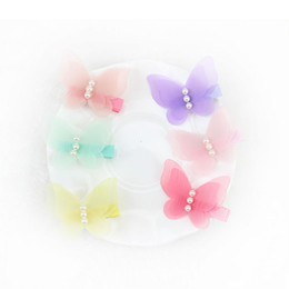 Wholesale Rainbow Butterflies - Cute Butterfly Hair bow New Korean Children Girls Barrettes boutique hair bows Bow Pearl Rainbow Color Kids Hair Accessorie 7420