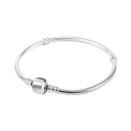 Wholesale pandora jewelry men - Factory Wholesale 925 Sterling Silver Plated Bracelets 3mm Snake Chain Fit Pandora Charm Beads Bracelet Jewelry Making for Men Women