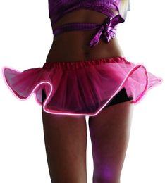 Wholesale Tutu Accessories Wholesale - New Cute Fashion Lady Light Up Tutu Gogo Dancing El Wire Accessory Clothing Skirt Rave Gear EDM
