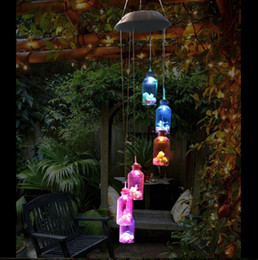 Wholesale Lighted Wind Chime - Waterproof 6Leds Multicolor Hanging Bottle Wind Chimes Solar LED Light For Window  Party  Night Garden Decoration