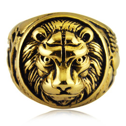 Wholesale Signet Silver - Hip hop Mens Stainless steel Animal head Biker Rings Skeleton Jewelry Gold Silver Lion Skull Signet Ring for Men