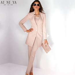 329104d5cee8 Jacket+Pants Women s Business Suit Light Pink Long Sleeves Female Office  Uniform Ladies Formal Trouser Suits Single Breasted