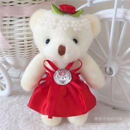 Wholesale Wedding Soft Teddy Bears - Cartoon Teddy Stuffed Bear 12cm lovely Small Plush Toy Teddy Bear,Wedding Gift For Lovers Animal Soft Plush Doll Keychain