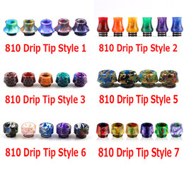Wholesale Wholesale For Retail - 9 Styles 810 Thread Drip Tips Cone Shape Resin Snake Skin Mouthpiece for SMOK TFV8 TFV12 TFV12 Prince TFV8 Big Baby Tank With Retail Package