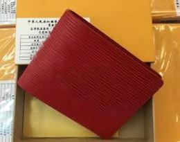 Wholesale National Money - Red Famous brand designer wallet Women men fashion short purse money Bags High quality pu Classic Water ripple Pocket bag