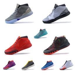 cdbb3f27cea Cheap New Men Kyrie Irving ones basketball shoes BHM Christmas Easter Black  Team Red sports 1s air flights sneakers boots tennis for sale