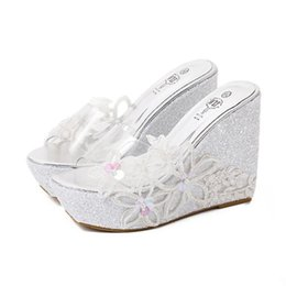 Glitter Sequined Appliques PVC Transparent Shoes Silver Wedding Shoes Women  High Heel Platform Wedge Slipper Sandals Size 34 To 40 8a8d529944b3