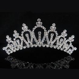 piezas de cabeza para niñas Rebajas Alta Quailty boda astilla de cristal Tiaras chica cabeza piezas fiesta de cumpleaños Rhinestone diamante brillante princesa coronas niños accesorios F789