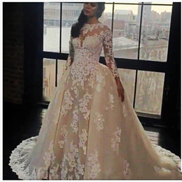 Wholesale Dubai Crystal Wedding - Luxury Sequins Sheer Lace Wedding Dresses With Detachable Skirt Beads African Dubai Ball 2018 Vestido de novia Bridal Gown Plus Size Arabic