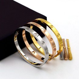 Wholesale Wholesale Gold Filled Jewelry Sets - Pulseira Feminina Stainless Steel Screw Bracelet for men Women Bangle Titanium Lover Bracelet Jewelry Valentine's Day present gift