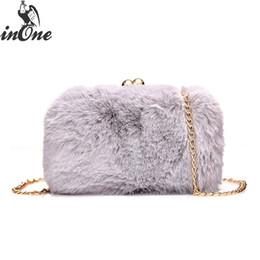 INONE 2018 Ladies Women Messenger Shoulder Hand Bags Fashion Crossbody  Handbag Cute Faux Fur Clutch Evening Bag with Metal Chain fe78857c10482