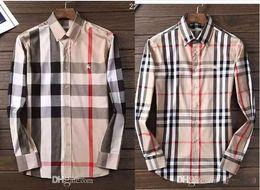 2019 camisa preta gravata branca Marca de negócios americana de auto-cultivo camisa xadrez, designer de moda marca de manga comprida camisa de algodão casual listrado camisa co-dress D121