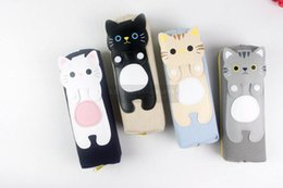 Wholesale Silicone Cosmetic Bag - Pencil Case School Supplies Stationery Gift Cute cat Large capacity Pencil Box Pencilcase Pencil Bag penalty Cosmetic Bags