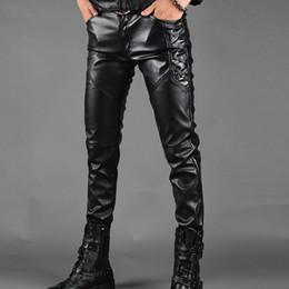 ropa de rock Rebajas Pantalones de cuero de los hombres de los hombres de moda pantalones casuales masculinos Slim Fit PU de cuero locomotora pantalones Punk Rock Stage Show ropa