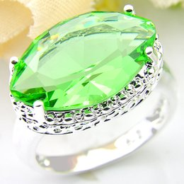 Wholesale wholesale bulk rings - 2pcs lot Bulk Price Christmas Gift 925 Sterling Silver Horse eye Grass green Gems Ring R0609