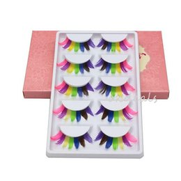 Wholesale feather tools - Wholesale 5 Pairs Women Lady Fancy Colorful Feather Fake Eyelashes Party Soft False Eye Lashes Makeup Tools