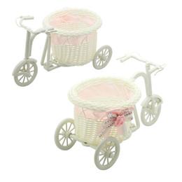 2019 hot-pink-fahrräder Hot 1 pc rosa Fahrrad Rattan Vase Korb Blumen Meter Bowknot Blumenvase Blumentöpfe Container günstig hot-pink-fahrräder