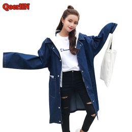 e9775a2aba4 QoerliN Womens Autumn Casual Jeans Outcoat Ladies Hood Denim Abrigo Pocket  Single-Breasted Button Long Sleeve Basic Trench Coat