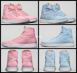 Wholesale I Shoes Boots - 2017 New Retro 1 I Women Basketball Shoes Canvas Pink Retros 1s High Cut Sports Shoes Boots Womens Basket ball Trainers Sneakers 36-40